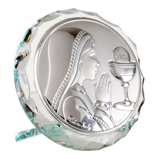 Italian Argento Communion Girl   Crystal Religious Icon