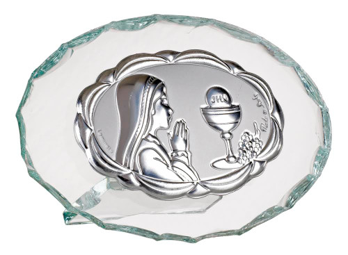 Italian Silver First Communion Girl on crystal Icon