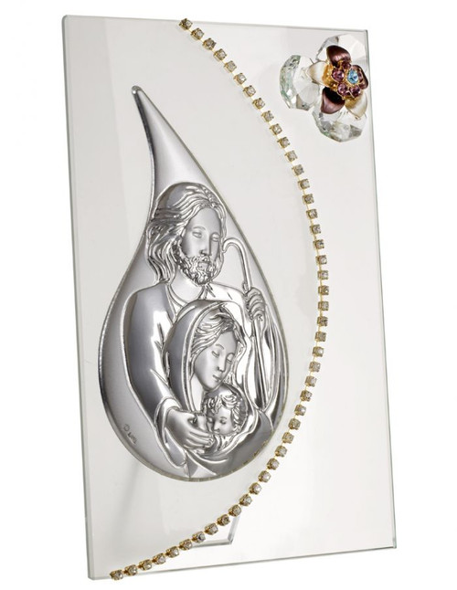Italian silver Holy Family With Swarovski Crystal