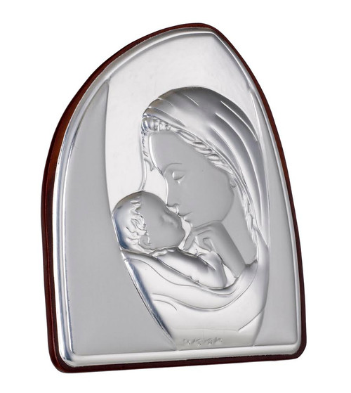 Silver Madonna Kissing Child