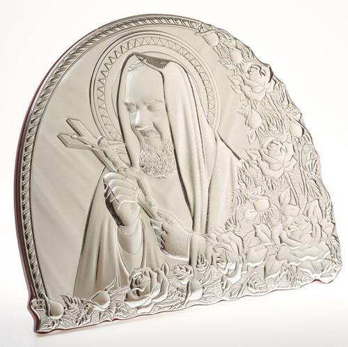 Italian 925 Silver Padre Pio Religious Icon