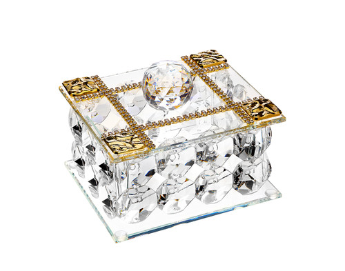 Debora Carlucci Crystal Jewelry Box w. 18kt Gold Plated