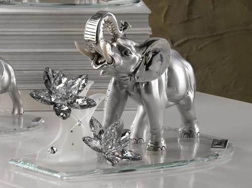Debora Carlucci 925 Silver  Elephant  W Waves of Swarovski Flower Lotus