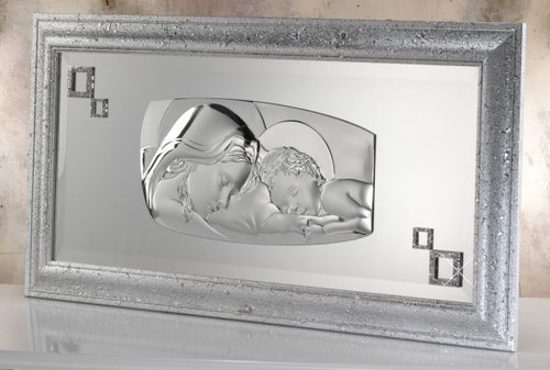 Silver Madonna with Child 925 with Bimbo Frame Wedding Gifts