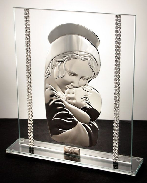 Debora Carlucci 925 Silver Madonna w. Child Crystals Backround