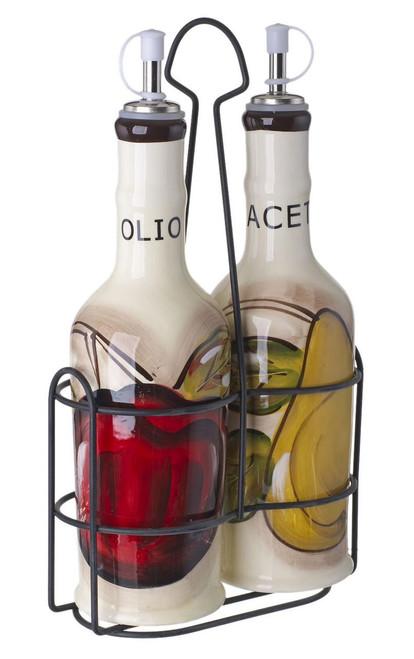 Oil and Vinegar Set White with Fruit Decor