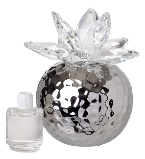 Italian Porcelain Diffuser Decorative For Aroma Silver with Crystal Lotus Top, Floral Scent