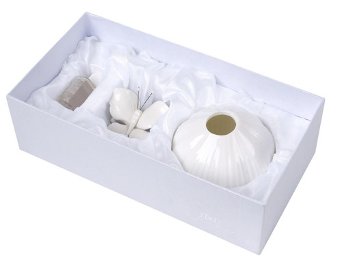 Italian Porcelain Decorative Home  Diffuser with Butterfly Top, White Pastel