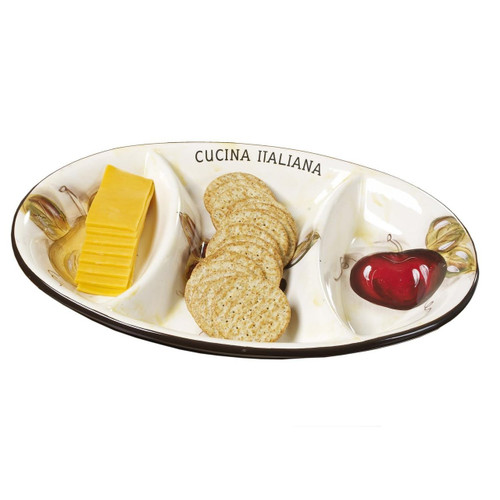 Cucina Italiana 3 Section, Divided Oval Serving Dish