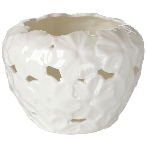 Italian Porcelain Tealight Holder Pierced Embossed Daisy