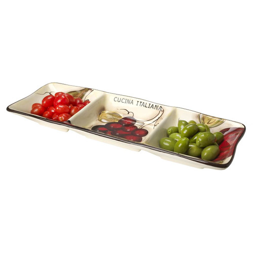 Ceramic Appetizer Side Dish 3 Sectional Fruit Decor