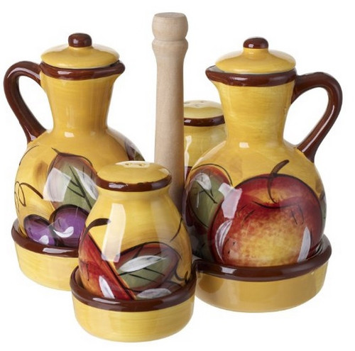 Ceramic Cruet Set With Caddy Apple Fruit Design