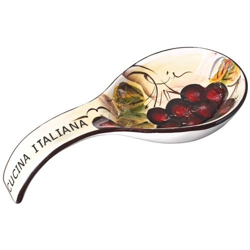 Cucina Italiana Ceramic Deep Spoon Rest White with Fruit Decor