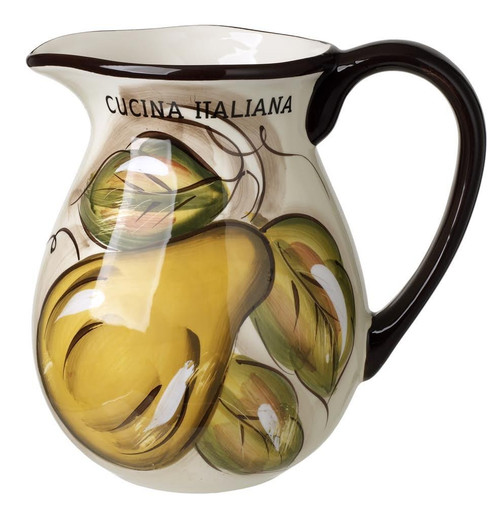 Ceramic Wine Pitcher With Fruit Pear Design