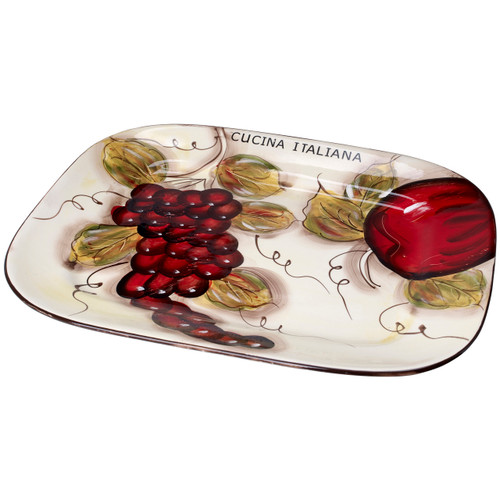 Decorative Serving Dish, Platter, Rectangular,15 x 12 Inch Fruit Print, White
