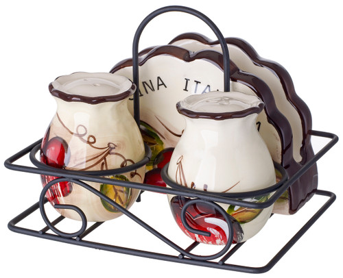 Salt and Pepper shakers with Napkin Holder in a Caddy