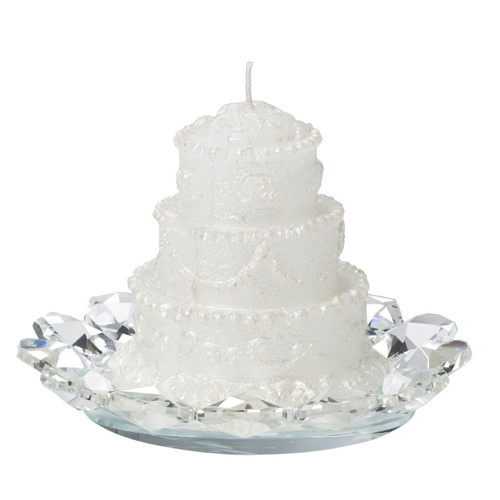 Scented Wedding Cake Candle With Italian Crystal Base