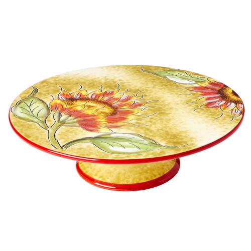 Cucina Italiana Ceramic Round Footed Cake Stand 10 x 10 In, Sunflower