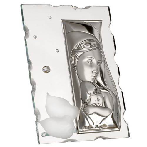 Italian 925 Silver Mother and Child Icon With Crystals