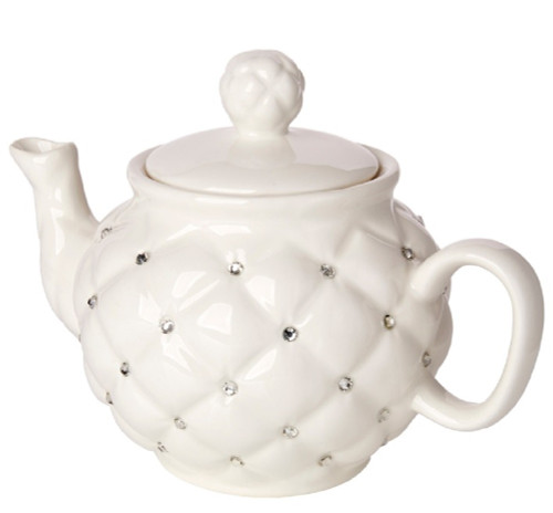 Italian Porcelain Teapot  Deorative with Crystal Accented Décor  Ivory