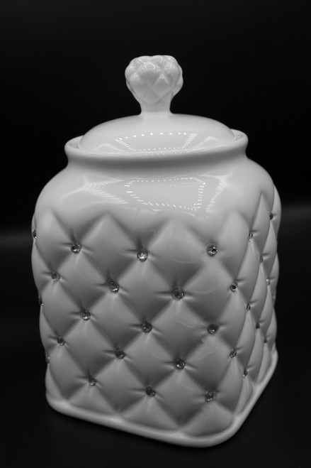 Italian Style Porcelain Tea Jar Canister with Airtight Lid  with Crystal Accented, Ivory