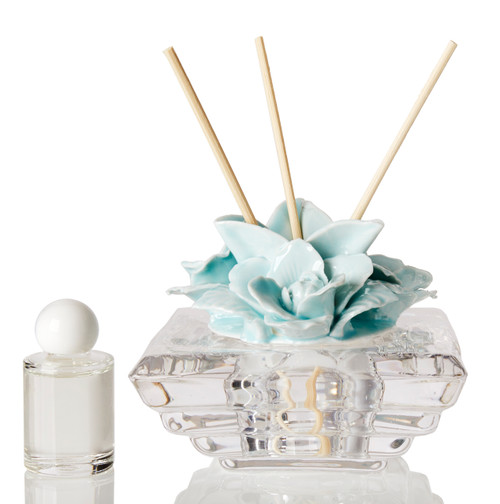 Italian Porcelain Decorative Reed Diffuser with Rose Top Blue
