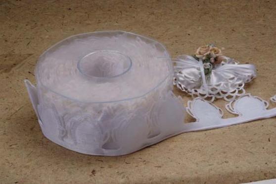Almond Holder Ribbon Roll Ivory Confetti Flower Ribbons