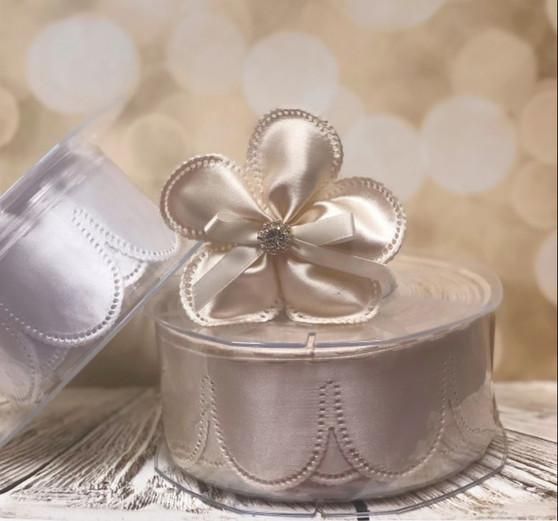 Confetti Flowers Almond Bomboniere, Ribbon Jordan Almonds Rolls