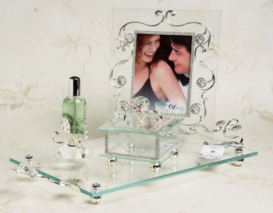 4 Piece Argento 925 Silver Plated Vanity Set wedding gifts sale