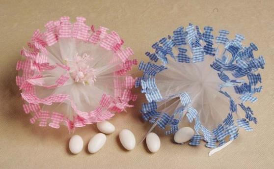 Pink/Blue Gingham Netting 25 pcs bag wedding party favors sale