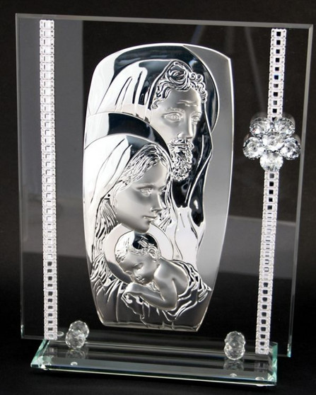 Italian 925 Silver Argento Holy Family Icon Tabletop with Swarovski Crystal Flower