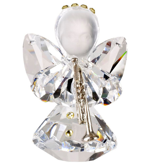 Italian Crystal Angel Communion Figurine back view