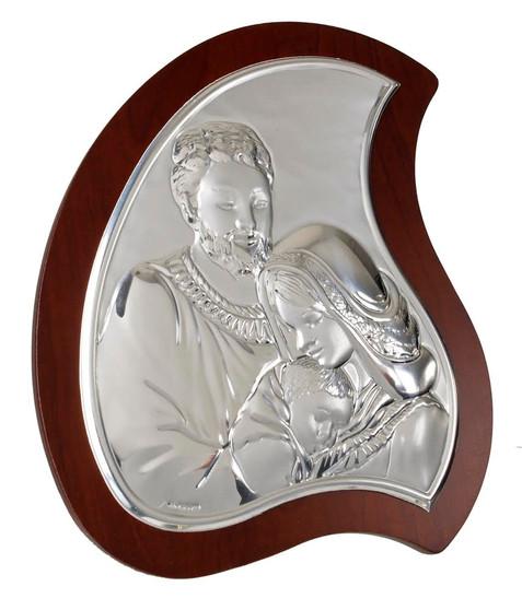 Italian Silver Holy Family plaque tear drop shape