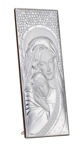 Madonna and child silver holy plaque