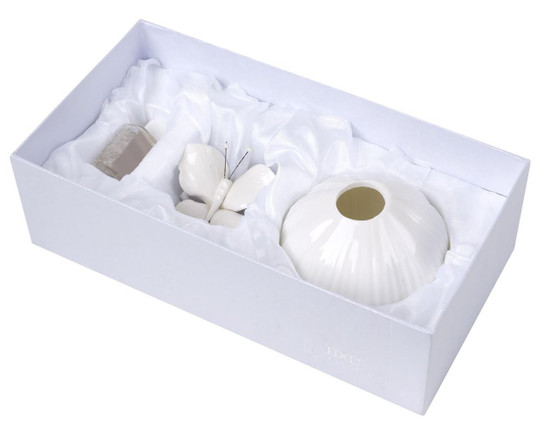 Italian Decorative Aroma Diffuser with Butterfly Top, White Soft Pastel