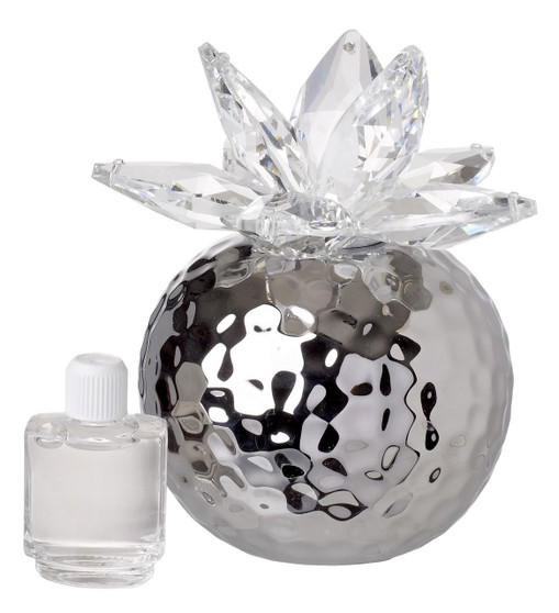 Italian Porcelain Aromatherapy Reed Diffuser Silver with Crystal Lotus Top