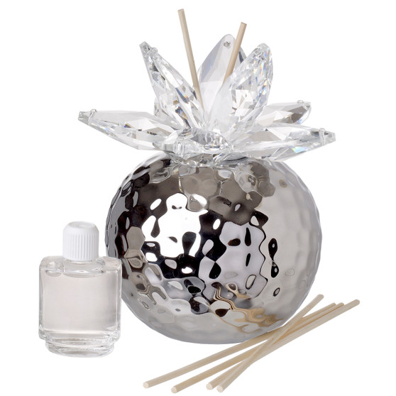 Decorative Aroma Diffuser Silver with Crystal Lotus Top Favor