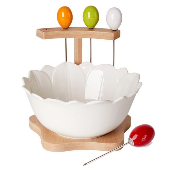 Antipasto Bowl with Picks  White Porcelain On Bamboo