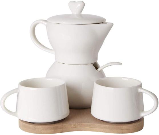 Italian Sugar Creamer Set  w Cups On Bamboo Tray White Porcelain