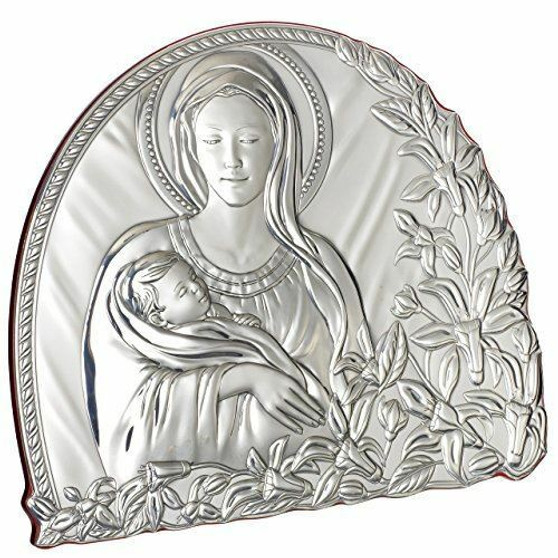Madonna With Child Silver Argento Religious Icon