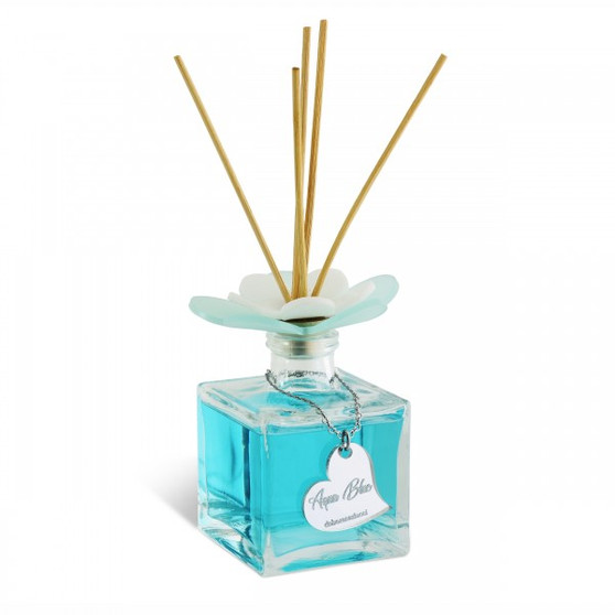 Decorative Reed Diffuser Flower Aqua Blue Scent 7 Oz (Gift)