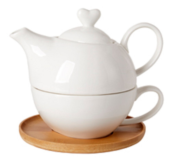 Heart Shaped Teapot & Teacup White Porcelain on Bamboo Tray