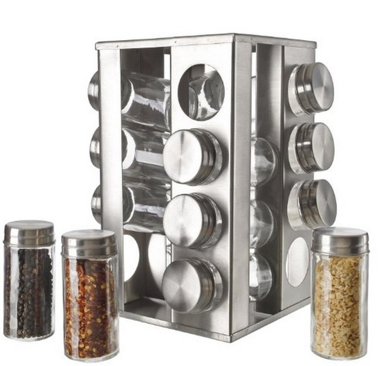 Spice Rack  Revolving 16 Piece Jar Set Rotating Stainless Steel ,Glass