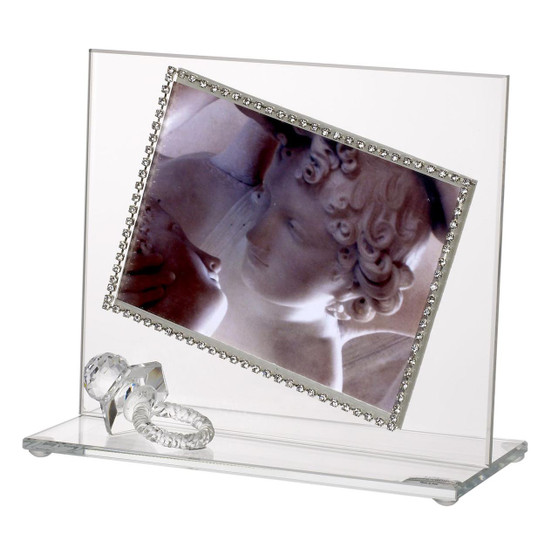 Baby Photo Frame w Swarovski Crystal Pacifier border