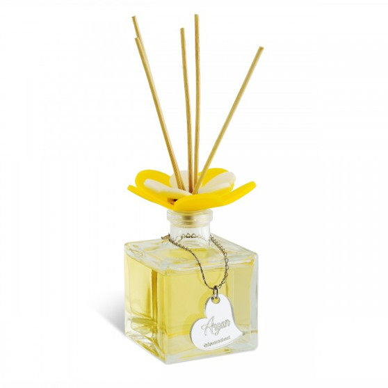 Decorative Reed Diffuser Flower Top Argan 3.5 oz Square (Gift)