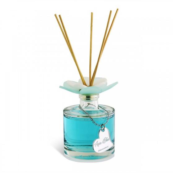 Decorative  Reed Diffuser with Plexiglas's Flower Top Aqua Blue