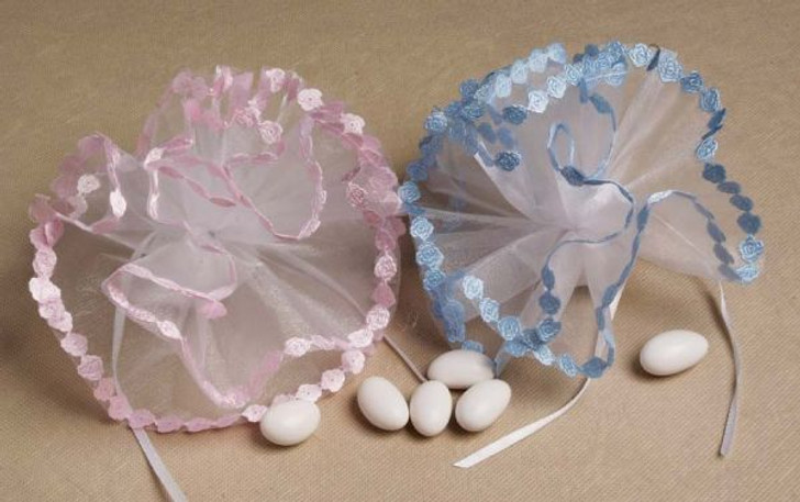 Organza Round Baby Bottle And Pacifier Netting Tulle 25 Pcs