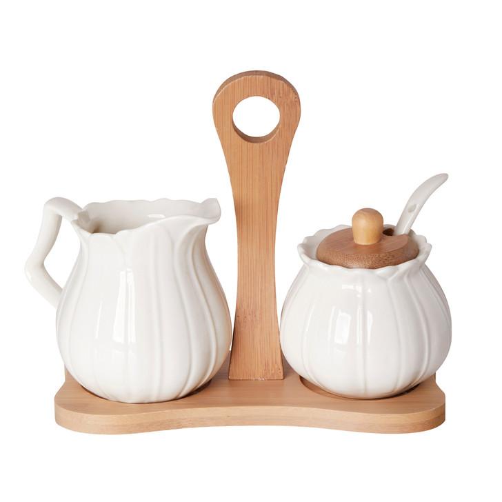 Creamer and Sugar Set White Porcelain On Bamboo Tray