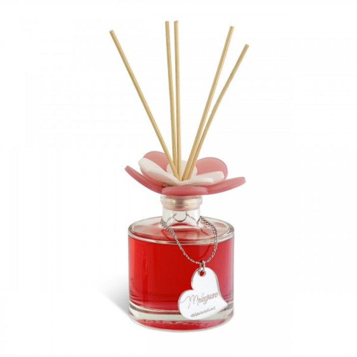 Decorative reed  diffuser round Bottle with Flower top red