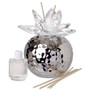 Italian Silver Hammered Finish Decorative Reed Diffuser Crystal Lotus Top